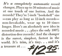 Description and Price ($12.95) of the RCA Victor 45 Player System