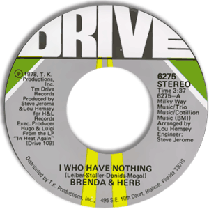 Classic 45 Record: I Who Have Nothing/ Sweet Dreamer by Brenda & Herb (Drive 6275, 1978)