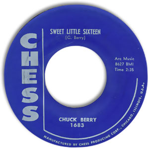 Classic 45 Record: Sweet Little Sixteen/ Reelin and Rocking by Chuck Berry (Chess 1683, 1958)