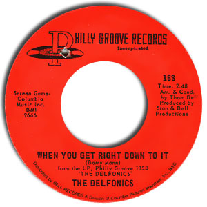 Classic 45 Record: When You Get Right Down To It/ I Gave To You by The Delfonics (Philly Groove 163, 1970)