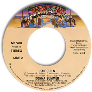 Classic 45 Record: Bad Girls/ On My Honor by Donna Summer (Casablanca 988, 1979)