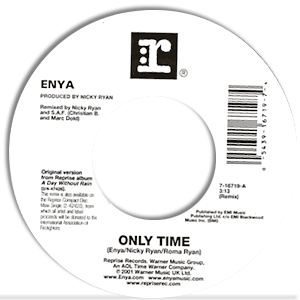 Classic 45 Record: Only Time/ May It Be by Enya (Reprise 16719, 2001)