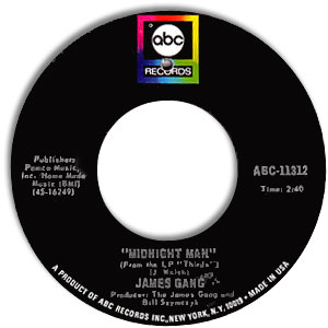 Classic 45 Record: Midnight Man/ White Man-Black Man by The James Gang (ABC 11312, 1971)