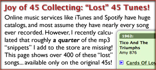 The Joy of 45 Record Collecting: Lost 45 Songs Not in iTunes!