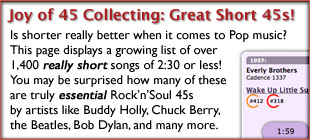 The Joy of 45 Record Collecting: List of Really Great Short Songs Less than 2 1/2 Minutes!