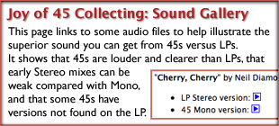 The Joy of 45 Record Collecting: Sound Gallery Comparing 45s With LPs