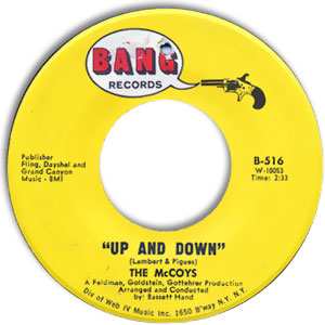 Classic 45 Record: Up and Down/ If You Tell A Lie by The McCoys (Bang 516, 1966)