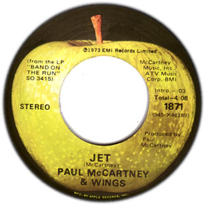 Classic 45 Record: Jet/ Mamunia by Paul McCartney (Apple 1871, 1974)