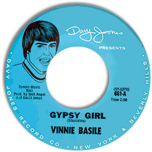 Classic 45 Record: Gypsy Girl/ Girl by Vinnie Basile (Davy Jones 661, 1967)